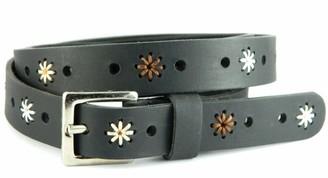 "Herte Genuine Leather Belt women floral Black real hand stitched fashion strap (Black Large (Waist Size 38"" - 40""))"