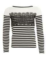 I Blues Womens Gatta Jumper, Lace Stripe Black White Jumper