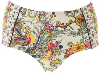 Tory Burch Printed High-Waisted Bikini Bottoms
