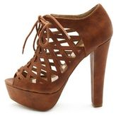 Charlotte Russe Caged Leatherette Lace-Up Heel