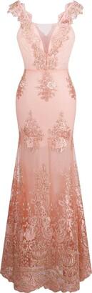 Angel Fashions Angel-fashions women's V-neck embroidery lace flower straps mermaid wedding dresses - - Small
