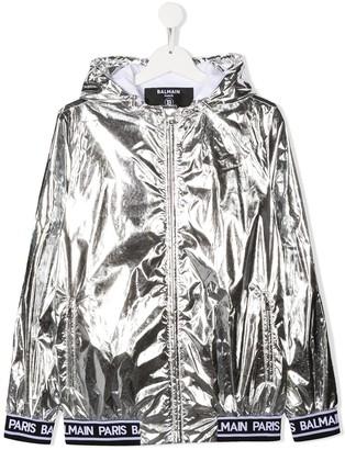 Balmain Kids TEEN metallic logo jacket