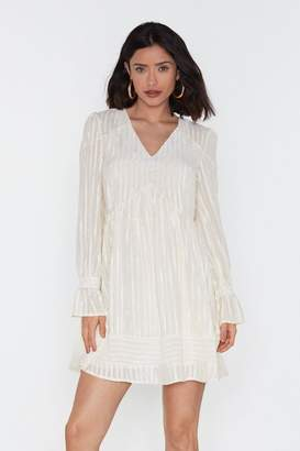 Nasty Gal Womens Babydoll Striped Satin Mini Dress - White - 6, White