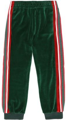 Gucci Kids Web-stripe velour trackpants