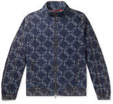 Valentino Slim-Fit Logo-Jacquard Denim Bomber Jacket