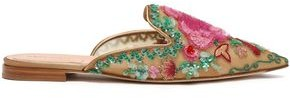Alberta Ferretti Embroidered Embellished Tulle Slippers