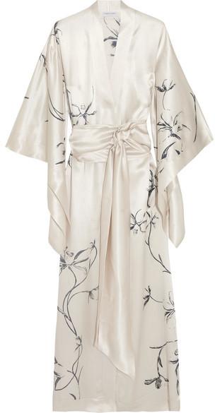 Carine Gilson Printed Silk-satin Robe - Ivory