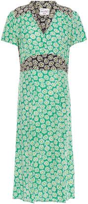 HVN Morgan Floral-print Silk Crepe De Chine Dress