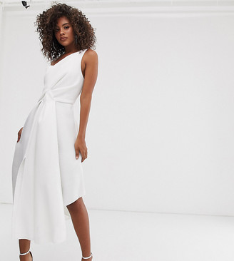 Asos Tall DESIGN Tall self stripe one shoulder fold detail prom midi dress-White