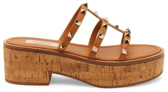 Valentino Garavani Rockstud Cork Leather Platform Mule Sandals