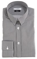 Versace Thick-Striped Dress Shirt, White/Gray