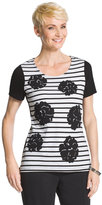 Chico's Jean Floral Stripe Tee