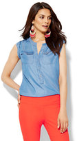New York & Co. 7th Avenue Design Studio - Ultra-Soft Chambray Sleeveless Shirt
