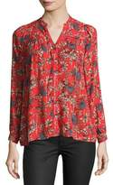 BA&SH Edgy Floral-Print Button-Front Top