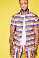 Block Stripe Short Sleeve Revere Shirt Co-ord