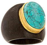 Sku Wood Ring With Turquoise Stone