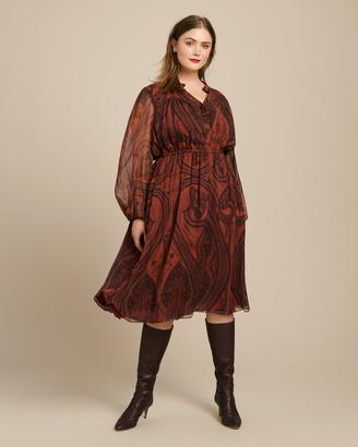 Adam Lippes Printed Chiffon Long Sleeve Dress