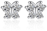 clear Don't Ask Don't AsK Women's Earrings Cubic Zirconia & Silvertone Butterfly Stud Earrings