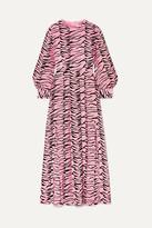 Rixo Emma Pleated Printed Silk Crepe De Chine Midi Dress - Pink
