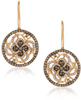 LeVian 0.94 TCW Diamonds and 14K Rosegold Chocolatier Medallion Earrings
