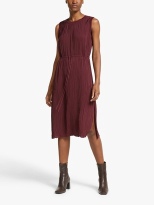 Theory Rib Pleated Dress, Bordeaux