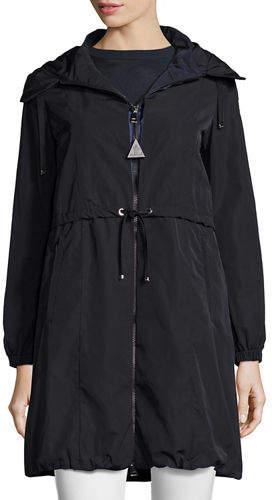 Moncler Tuile Long Hooded Drawstring Jacket