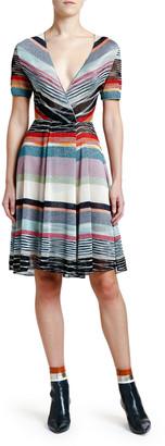 Missoni Shimmer-Striped V-Neck Dress