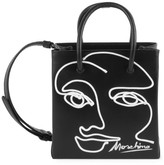 Moschino Face Embroidered Leather Top Handle Bag