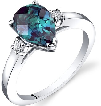 Oravo 14K White Gold 2.25 ct Pear Shape Created Alexandrite and Diamond Ring Size - 7