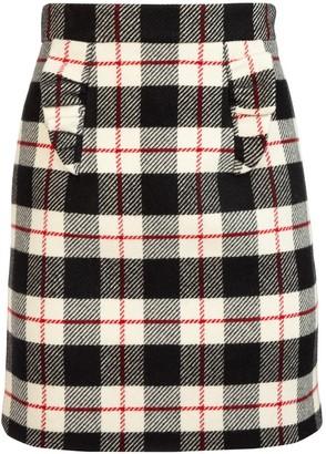 Miu Miu Checked High Waist A-Line Skirt