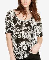 Lauren Ralph Lauren Paisley Scoop Neck T-Shirt