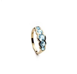 Coco & Kinney Blue Topaz Lottie Ring In Gold