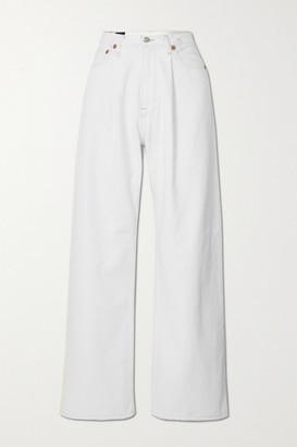 R13 - Damon Distressed Mid-rise Wide-leg Jeans - White
