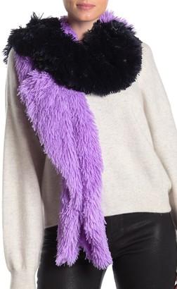 Free Press Colorblock Faux Fur Scarf