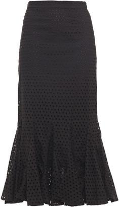 Rhode Resort Sienna Fluted Broderie Anglaise Cotton Midi Skirt