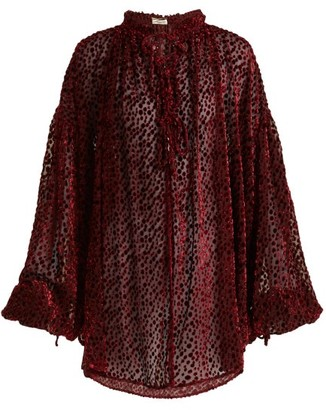 Saint Laurent Flocked Velvet Polka-dot Peasant Blouse - Burgundy