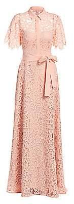 Lela Rose Women's Lace Eyelet Flutter Sleeve A-Line Gown