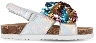 Colors of California Faux Leather Sandals W/ Sequined Bow
