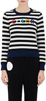 """Lisa Perry Women's """"Color""""-Embroidered Wool-Cashmere Sweater-BLACK, WHITE, NO COLOR"""