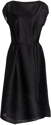 Pleats Please Issey Miyake Musical Score Sleeveless Midi Dress