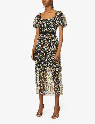 Self-Portrait Sequin-embellished mesh midi dress