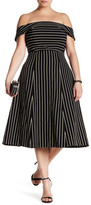ABS by Allen Schwartz Off-The-Shoulder Pinstripe Dress (Plus Size)