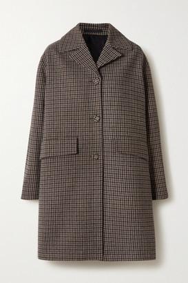 Officine Generale Floriane Checked Wool-blend Coat - Brown