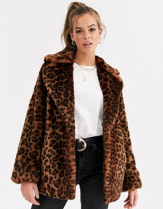 Asos DESIGN animal faux fur coat