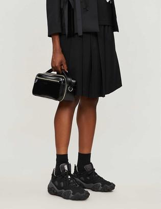 Black Comme Des Garcon Gabardine relaxed-fit asymmetric-hem wool shorts