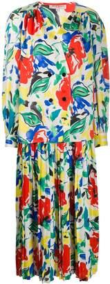 Saint Laurent Pre-Owned floral pleated skirt suit