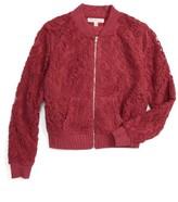 Girl's Love, Fire Crochet Bomber Jacket
