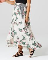 Mock Wrap Tie Waist Print Maxi Skirt