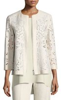 Lafayette 148 New York Lavish Embroidered Floral-Cutout Linen Jacket, Light Beige, Plus Size