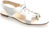 Patent Lace-up Flat Sandals